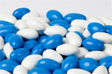Blue and White Chocolate Covered Almonds (25 Pound Case)