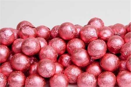 Bright Pink Foiled Milk Chocolate Balls (25 Pound Case)