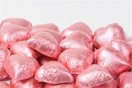 Bright Pink Foiled Milk Chocolate Hearts (25 Pound Case)