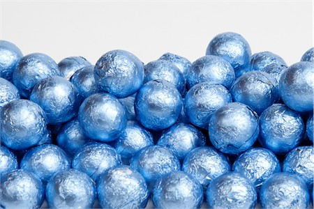 Pastel Blue Foiled Milk Chocolate Balls (25 Pound Case)