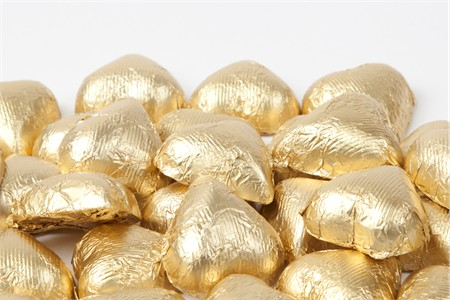 Gold Foiled Milk Chocolate Hearts (10 Pound Case)