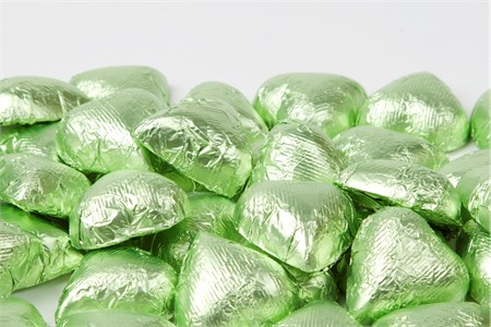 Leaf Green Foiled Milk Chocolate Hearts (1 Pound Bag)