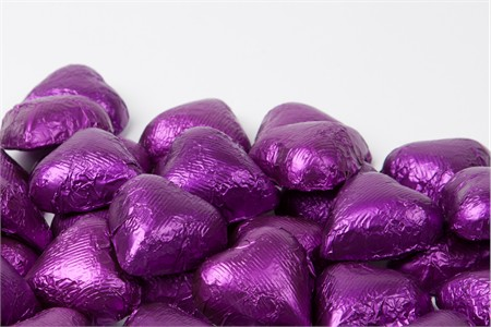 Purple Foiled Milk Chocolate Hearts (25 Pound Case)