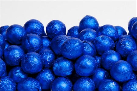Royal Blue Foiled Milk Chocolate Balls (25 Pound Case)