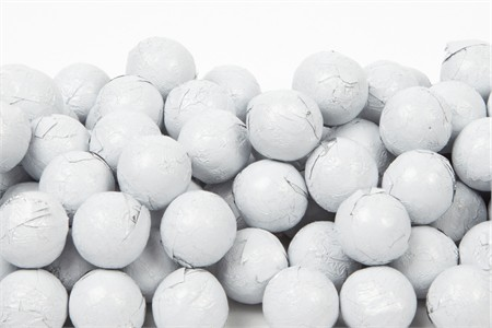 White Foiled Milk Chocolate Balls (10 Pound Case)