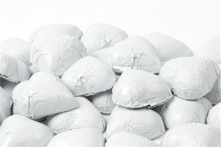 White Foiled Milk Chocolate Hearts (25 Pound Case)