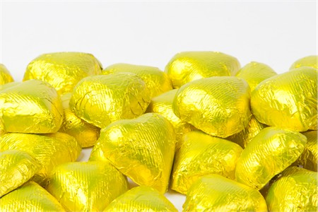 Yellow Foiled Milk Chocolate Hearts (10 Pound Case)